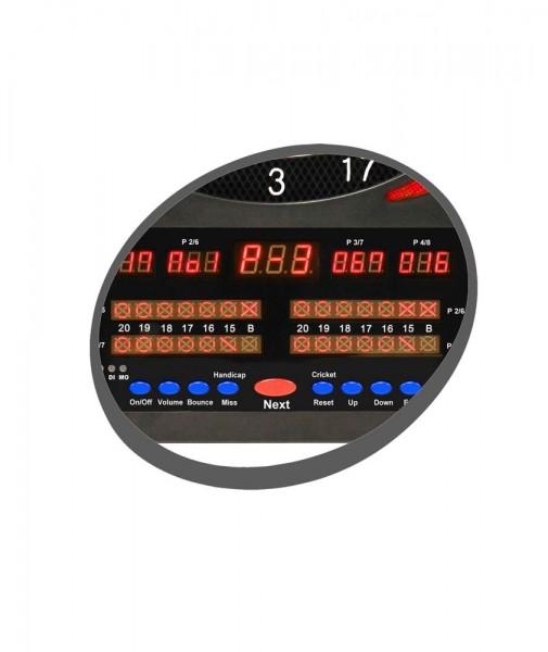 CARROMCO Elektonik DARTBOARD TOPAZ-901, mit Netzteiladapter, 2-Loch Abstand 8 Spieler 9 LED Anzeigen
