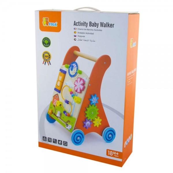 VIGA Toys - Lauflernwagen Gehwagen - rot aus Holz mit Motorik und anderen Spielen