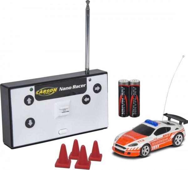 Carson 1:60 Nano Racer Feuerwehr 27MHz 100% RTR + Blaulicht u. Sound Ferngesteuert Automodell 50040