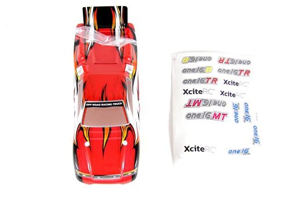 XciteRC Karosserie für Truggy one16 TR rot + Decals