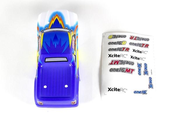 XciteRC Karosserie für Truck one16 MT blau + Decals